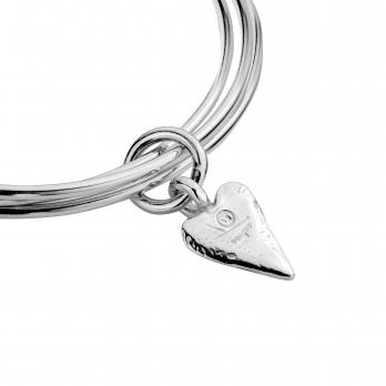 Silver Medium Heart Trio Bangles detailed