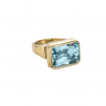 ULA Gold Blue Topaz Ring