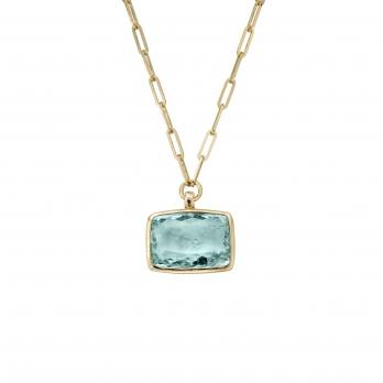 ULANNI Gold Aquamarine Trace Chain Necklace