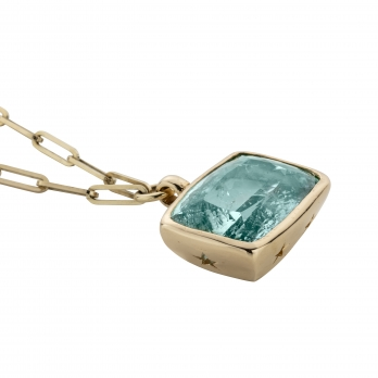 ULANNI Gold Aquamarine Trace Chain Necklace detailed