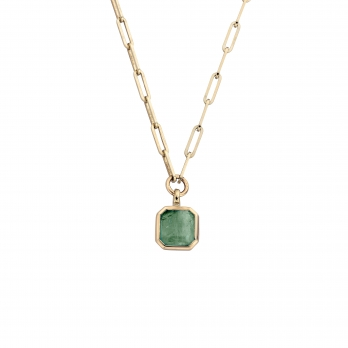 VIRIBUS Gold Emerald Trace Chain Necklace