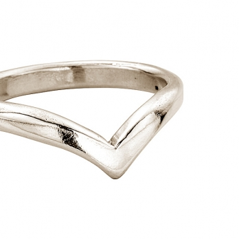Ladies White Gold Wishbone Wedding Band detailed