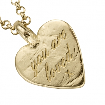 Gold Medium You Are Loved Necklace detailed