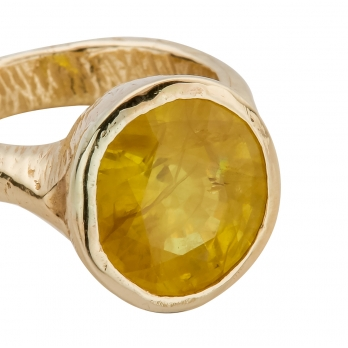 SOL Yellow Sapphire Gold Ring detailed