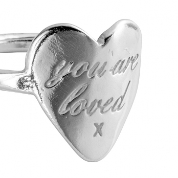 Silver You Are Loved Ring detailed