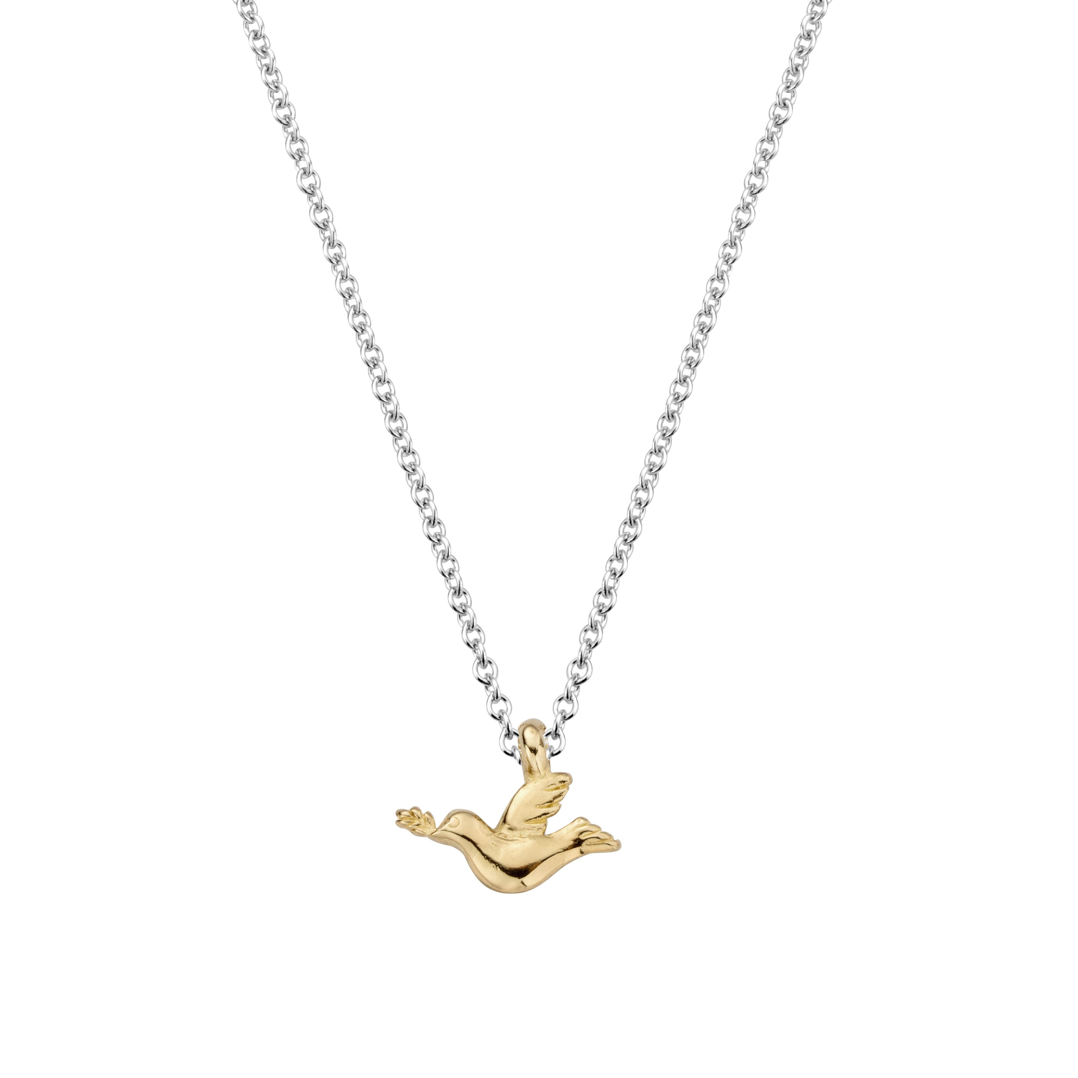Silver Gold Mini Turtle Dove Necklace
