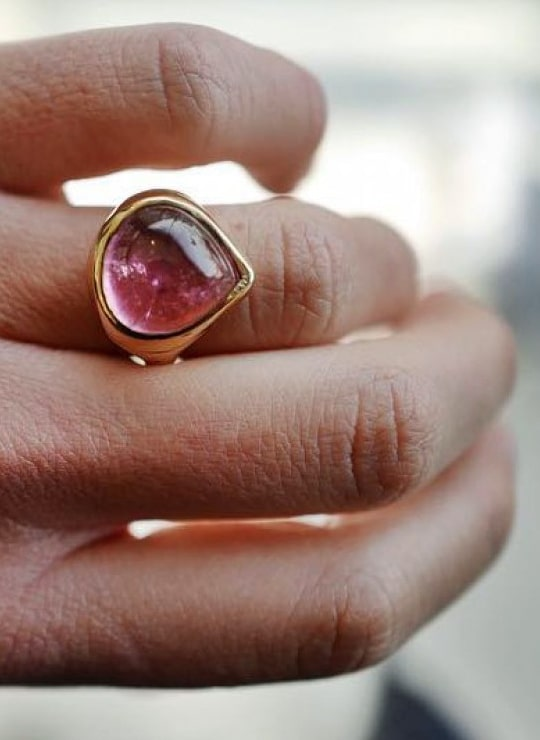 Pink Tourmaline Heart of Gold Ring