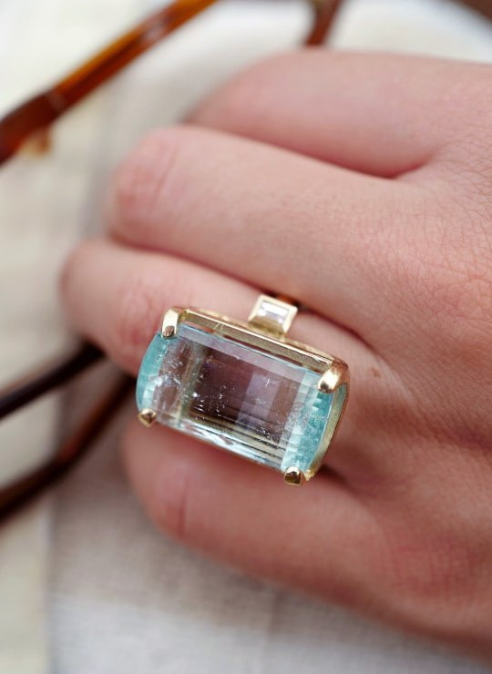 MAIA Cinderella Gold Aquamarine & Diamond Ring
